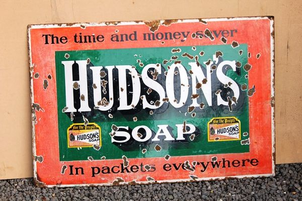 Hudsons Soap enamel Sign