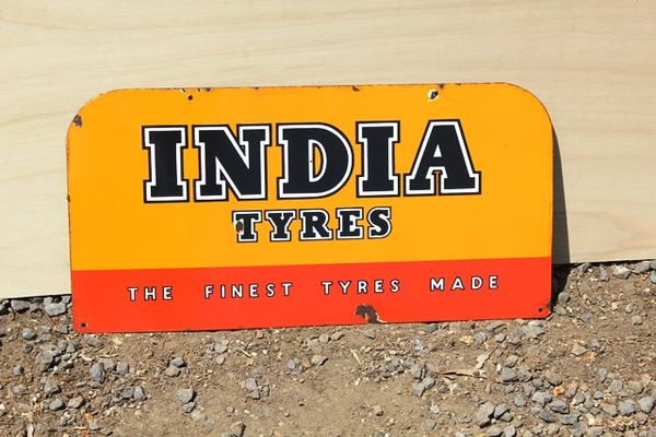 India Tyres Enamel Sign