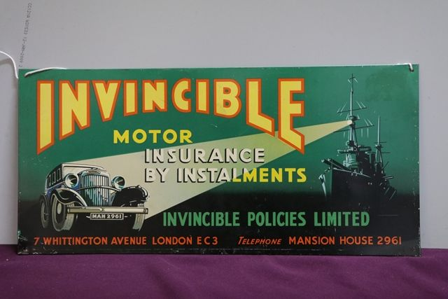 Invincible Motor insurance Pictorial Tin Sign