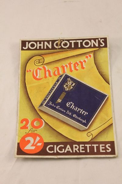 John Cottons Charter Cigarettes Ad Card