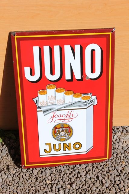 Juno Pictorial Enamel Advertising Sign
