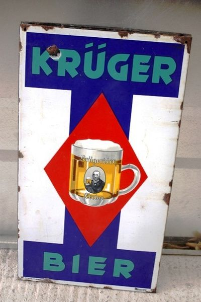 Kruger Beer Pictorial Enamel Sign Arriving Nov