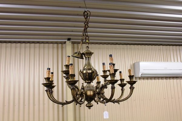 Large 12 Branch Brass Chandelier