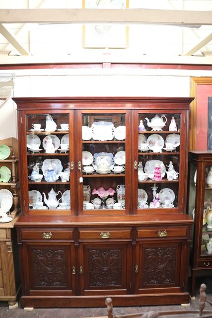 Large Antique Carved Walnut 3 Door Library Bookcase