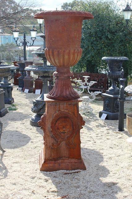 Large Athens  Cast Iron Urn On Base