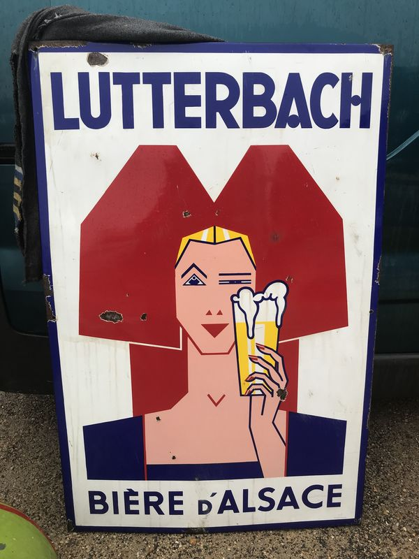 Large Lutterbach Beer Enamel Pictorial Sign