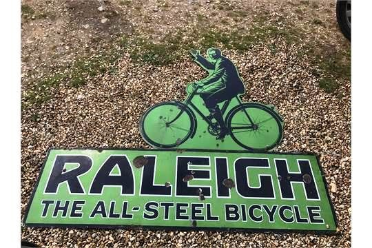 Large Raleigh 2 Piece Pictorial Enamel Sign