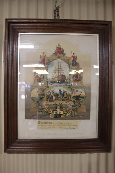 Large The Hearts Of Oak Society Framed Certificate