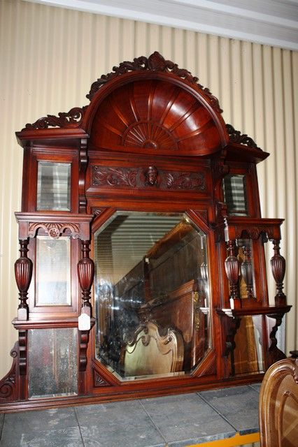 Large Victorian Shell Top Wallnut Overmantle Mirror English C1885