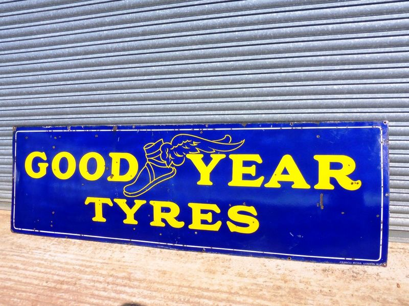 Large and Early Good Year Tyres Enamel Sign