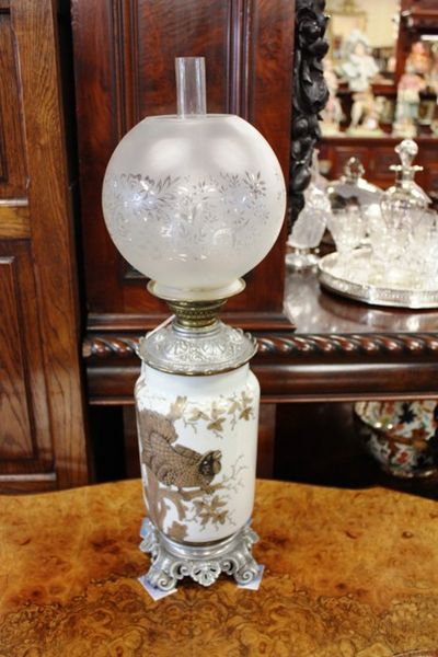 Late 19th Century Glass And Metal Oil Lamp