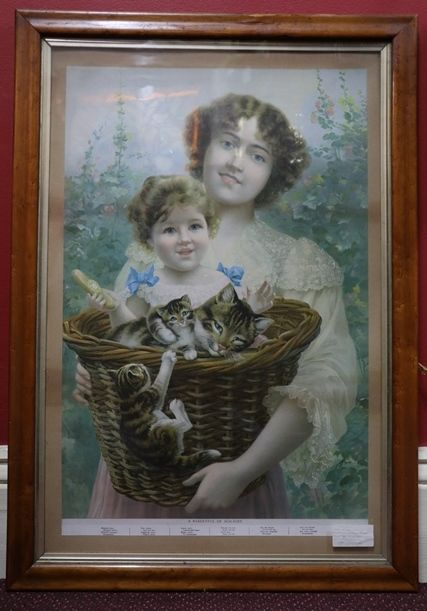 Late Victorian Birdseye maple Framed Print of A BasketFul Of Mischief