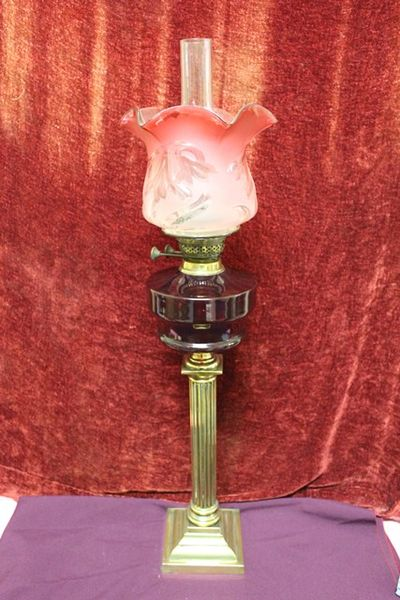 Late Victorian Oil Lamp Deep Ruby Glass Font