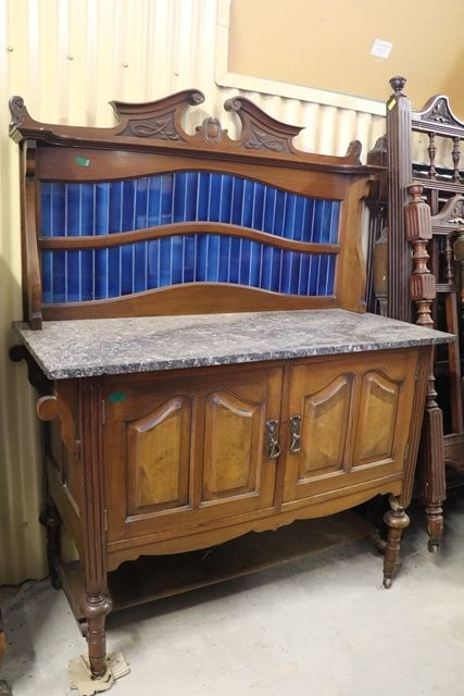 Marble Top Washstand with Blue Tiles inserts
