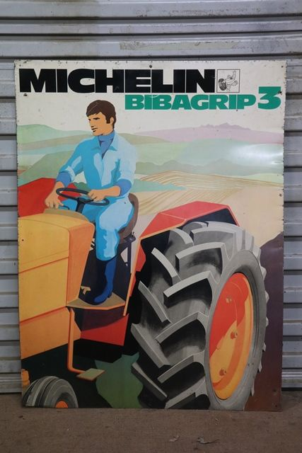 Michelin Tractor Tyre Bibagrip 3 Tin Pictorial Advertising Sign