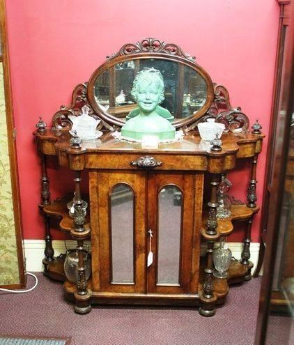 Mid Victorian Burr Walnut WotNot Cabinet