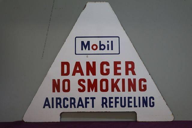 Mobil Warning Enamel Sign andquotDanger No Smoking Aircraft Refuelingandquot