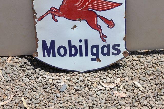 Mobilgas Sheild Enamel Advertising Sign