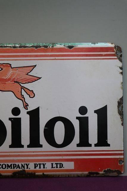 Mobiloil Enamel Advertising Sign Vacuum Oil Company
