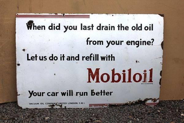 Mobiloil Script Enamel Sign