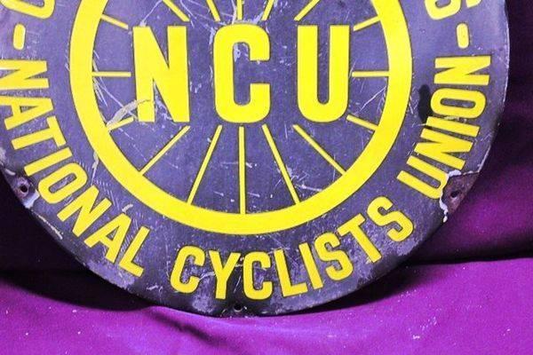 NCU National Cyclists Union Enamel Sign