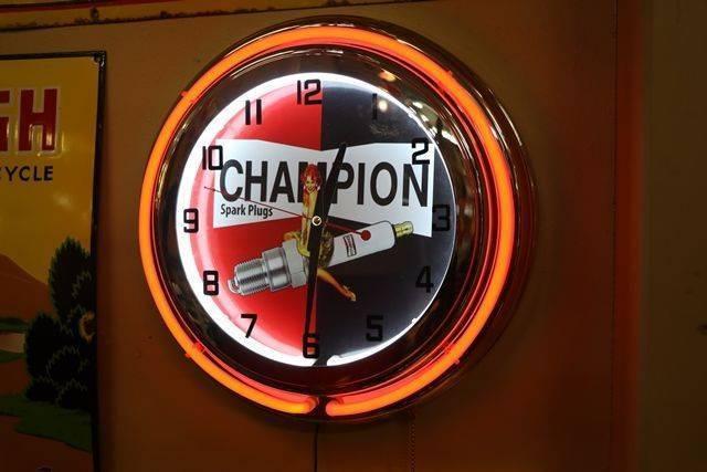 New Champion Spark Plugs Neon Light Clock