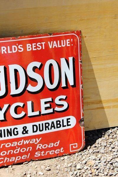 New Hudson Bicycles Enamel Sign