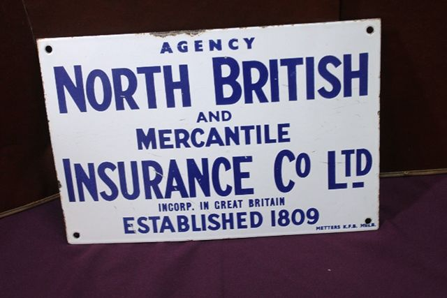 North British Insurance Agency Enamel Advertising Sign