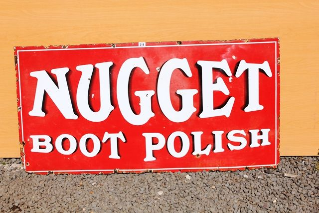 Nugget Boot Polish Enamel Advertising Sign