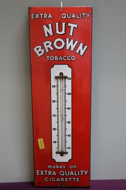 Nut Brown Tobacco Enamel Advertising Thermometer Sign