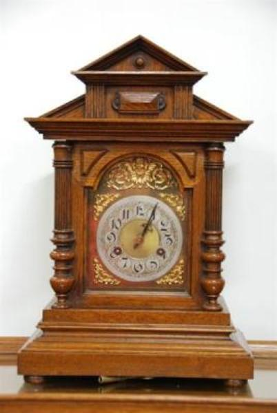 Oak 8 Day Mantle Brass Faced Clock --- C 18