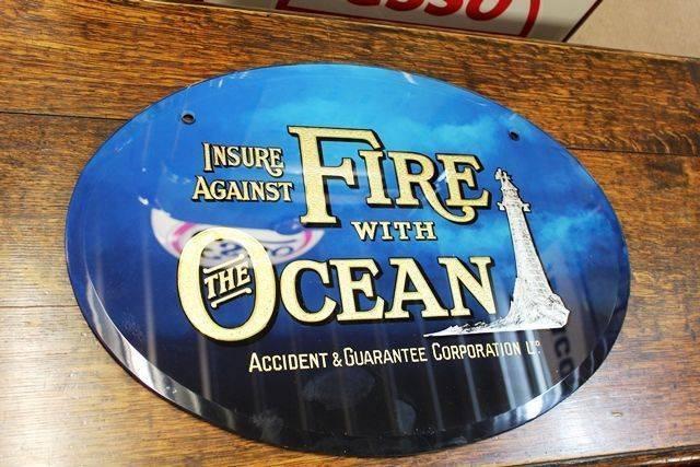 Ocean Insurance Glass Advertising Sign