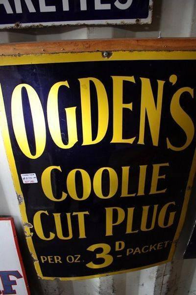 Ogdens Coolie Cut Plug Tobacco Sign