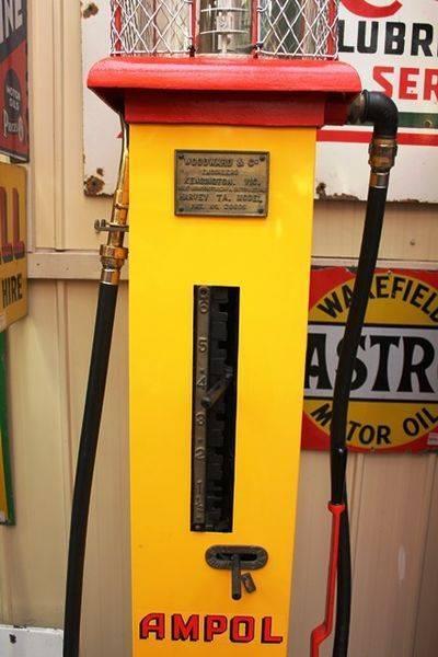 Older Restoration Woodward Manual Petrol Pump In Ampol Livery