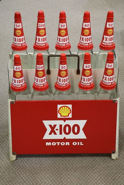 Original Shell X 100 10 Bottle Oil Rack + Pint + Quart Bottles