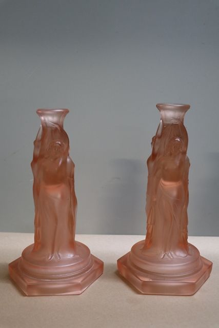 Pair Of Art Deco Pink Glass 3 Graces CandleSticks