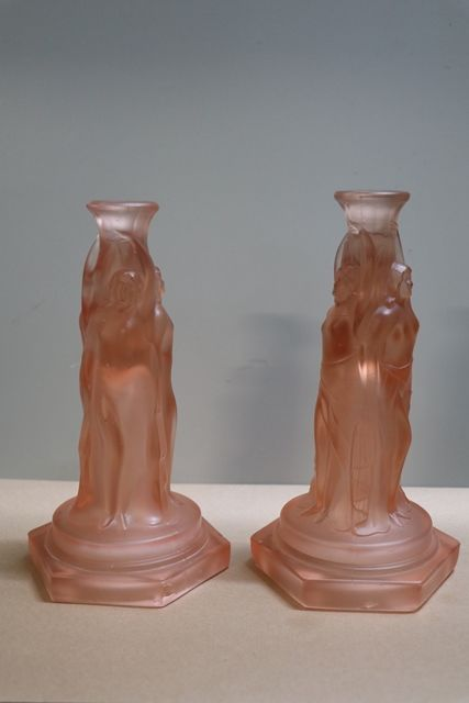 Pair Of Art Deco Pink Glass 3 Graces Tazza Bases  Candlesticks