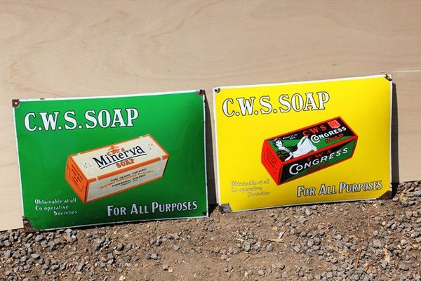 Pair Of CWS Soap Enamel Signs