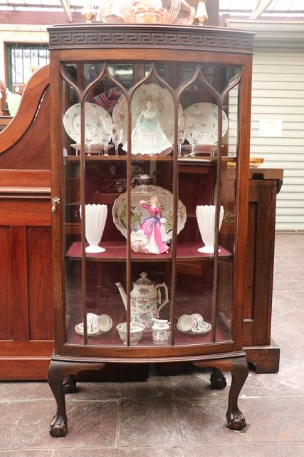 Pair Of Early C20th Mahogany Bow Front Display Cabinets