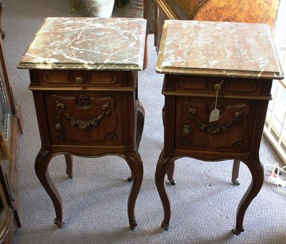 Pair Of Late 19th Century French Walnut Marble Top Bedside Cabinets