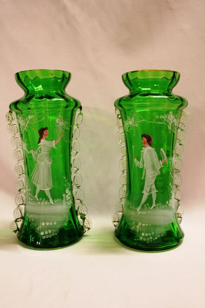 Pair Of Victorian Green Glass Mary Gregory Glass Vases Xxxx