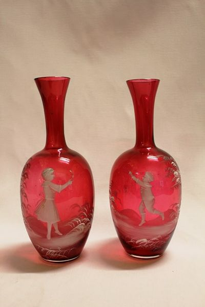 Pair Of Victorian Ruby Glass Mary Gregory Vases Xxxx Antique Complex