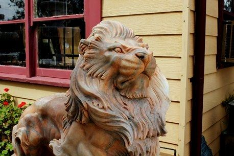 Pair of Large Tiger Eye Marble Lions on Stands