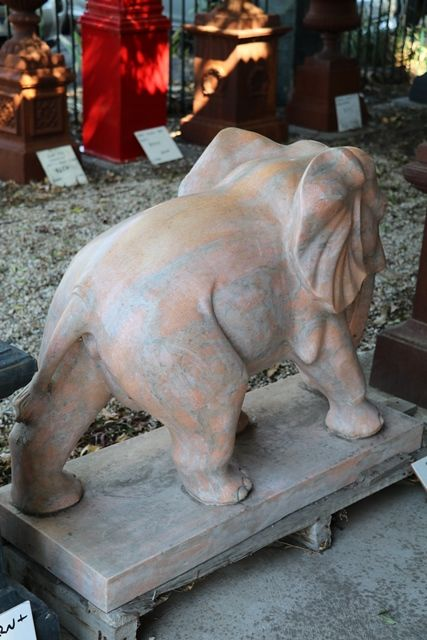 Pair of Tiger Eye Marble Elephant Garden Statues