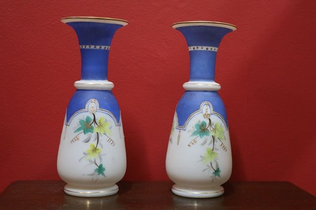 Pair Of Victorian Glass Vases C1900 Xxxx Antique Complex