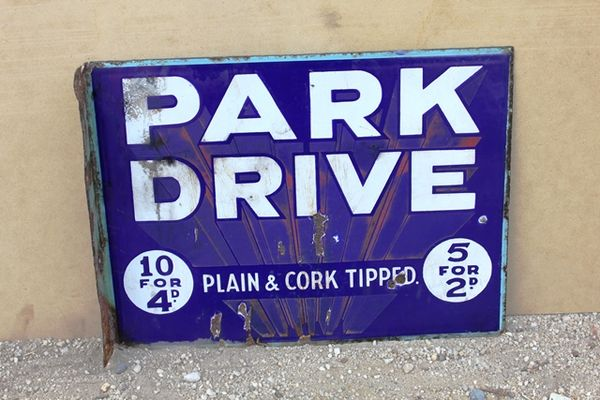 Park Drive Double Sided Post Mount Enamel Sign