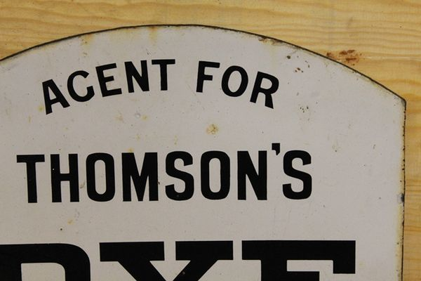 Perth Dye Works Double Sided Enamel Sign