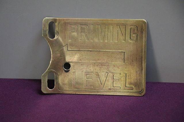 Petrol Pump Priming Level Brass Sign