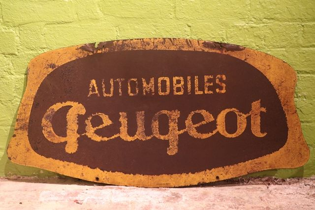 Peugeot Automobiles Double Sided Tin Advertising Sign