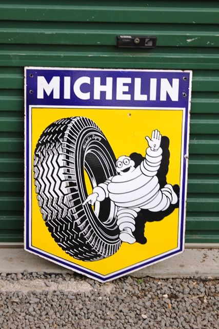 Pictorial Michelin Shield Enamel Advertising Sign